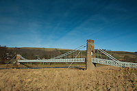 The Gattonside Suspension Bridge over the River Tweed at Melrose, Scottish Borders