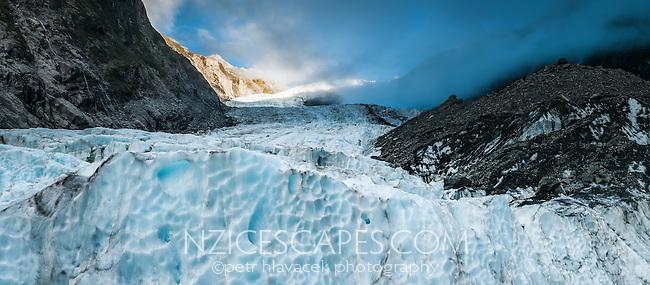 Looking towards Main Icefall of Franz Josef Glacier when sun sets, Westland National Park, West Coast, World Heritage, South Island, New Zealand