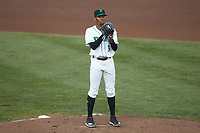 Dayton Dragons starting pitcher Hunter Greene (3) looks to his catcher for the sign against the Bowling Green Hot Rods at Fifth Third Field on June 9, 2018 in Dayton, Ohio. The Hot Rods defeated the Dragons 1-0.  (Brian Westerholt/Four Seam Images)
