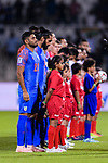 Narayan Das of India (L) and his teammates listen to their national anthem during the AFC Asian Cup UAE 2019 Group A match between India (IND) and Bahrain (BHR) at Sharjah Stadium on 14 January 2019 in Sharjah, United Arab Emirates. Photo by Marcio Rodrigo Machado / Power Sport Images