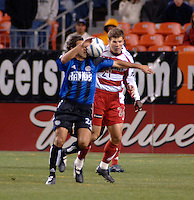 Colorado forward Jovan Kirovski implements a secret trapping technique. The Colorado Rapids drew 0-0 with FC Dallas in the first game of the Western Conference Semi-finals Invesco Field at Mile High, Denver, Colorado, September 22, 2005.