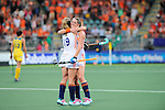 The Hague, Netherlands, June 07: Ellen Hoog #19 of The Netherlands and Lidewij Welten #12 of The Netherlands celebrates after winning the field hockey group match (Group A) between Australia and The Netherlands on June 7, 2014 during the World Cup 2014 at Kyocera Stadium in The Hague, Netherlands. Final score 0-0 (0-2) (Photo by Dirk Markgraf / www.265-images.com) *** Local caption ***