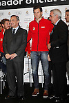 Real Madrid player Jesus Fernandez (c) and the President Florentino Perez participate and receive new Audi during the presentation of Real Madrid's new cars made by Audi at the Jarama racetrack on November 8, 2012 in Madrid, Spain.(ALTERPHOTOS/Harry S. Stamper)