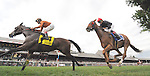 Abaco (no. 3), ridden by Jose Ortiz and trained by Claude McGaughey III, wins the 26th running of the grade 2 Ballston Spa Stakes for fillies and mares three years old and upward on August 23, 2014 at Saratoga Race Course in Saratoga Springs, New York.  (Bob Mayberger/Eclipse Sportswire)