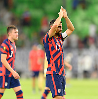 AUSTIN, TX - JULY 29: Sebastian LLetget #17 of the United States applauds the fans after a game between Qatar and USMNT at Q2 Stadium on July 29, 2021 in Austin, Texas.