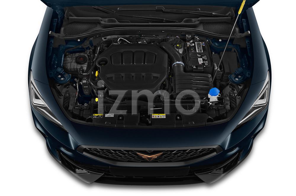 High angle engine detail of a 2021 Cupra Formentor SUV