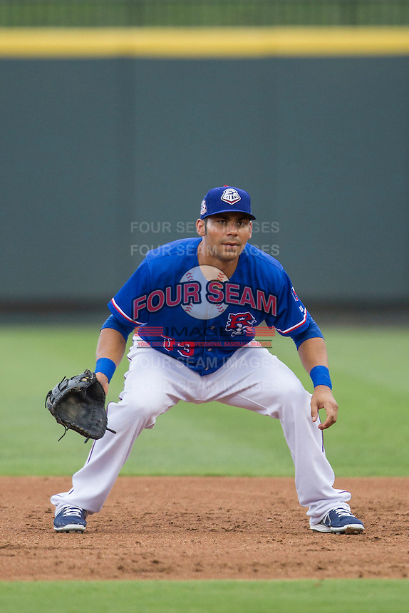Round Rock Express first baseman Carlos Pena (33) on defense during the Pacific Coast League baseball game against the Sacramento River Cats on June 19, 2014 at the Dell Diamond in Round Rock, Texas. The Express defeated the River Cats 7-1. (Andrew Woolley/Four Seam Images)