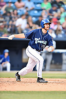 Asheville Tourists designated hitter Greg Jones (25) swings at a pitch during a game against the West Virginia Power at McCormick Field on May 30, 2019 in Asheville, North Carolina. The  Power defeated the Tourists 8-3. (Tony Farlow/Four Seam Images)
