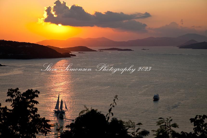 Sunset from Maho Bay Campground<br /> Virgin Islands National Park<br /> St. John, U.S. Virgin Islands