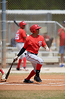 Washington Nationals Blake Perkins (27) follows through on a swing during a minor league Spring Training game against the St. Louis Cardinals on March 27, 2017 at the Roger Dean Stadium Complex in Jupiter, Florida.  (Mike Janes/Four Seam Images)
