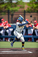 Michigan Wolverines outfielder Elliott Clark (15) at bat against the Maryland Terrapins on May 23, 2021 in NCAA baseball action at Ray Fisher Stadium in Ann Arbor, Michigan. Maryland beat the Wolverines 7-3. (Andrew Woolley/Four Seam Images)