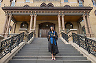 May 18, 2014; Natalie Achonwa poses for a photo on the steps of the Main Building after the 2014 Commencement ceremony. Photo by Barbara Johnston/University of Notre Dame
