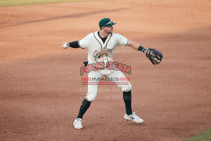 Greensboro Grasshoppers third baseman Jared Triolo (19) on defense against the Wilmington Blue Rocks at First National Bank Field on May 25, 2021 in Greensboro, North Carolina. (Brian Westerholt/Four Seam Images)