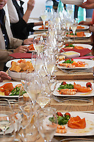 Tasting champagne together with shrimps and smoked salmon as appetizer Champagne Duval Leroy, Vertus, Cotes des Blancs, Champagne, Marne, Ardennes, France