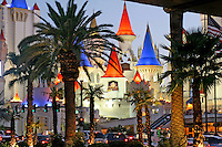 Evening lighting The Strip Excalibur Casino Las Vegas Nevada