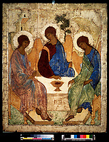 'La Sainte Trinite' Icone. Tempera d'Andrei Rublev (Roublev) (1360/70-1430) 1411-1427 State Tretyakov Gallery, Moscou ©FineArtImages/Leemage