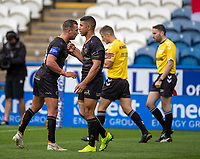 22nd August 2020; The John Smiths Stadium, Huddersfield, Yorkshire, England; Rugby League Coral Challenge Cup, Catalan Dragons versus Wakefield Trinity; David Mead of Catalan Dragons (R) is congratulated by his team after scoring the opening try