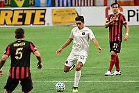 ATLANTA, GA - SEPTEMBER 02: Victor Ulloa #13 of Inter Miami CF passes the ball during a game between Inter Miami CF and Atlanta United FC at Mercedes-Benz Stadium on September 02, 2020 in Atlanta, Georgia.