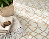 Avila, a waterjet stone mosaic shown in honed Cloud Nine and Lavigne. Designed by Paul Schatz for New Ravenna.