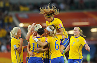 Players of team Sweden celebrate during the FIFA Women's World Cup at the FIFA Stadium in Wolfsburg, Germany on July 6thd, 2011.
