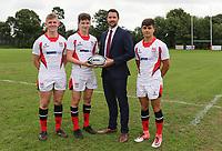 Ulster Rugby Schools 2018-2019<br /> <br /> Methodist College players Jack Watson, Luke Graham and Ethan Bryce. with Danske Bank representative Ian Russell.<br /> <br /> Photo by John Dickson / DICKSONDIGITAL