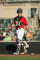 Kannapolis Intimidators catcher Brett Austin (20) on defense against the Greensboro Grasshoppers at CMC-Northeast Stadium on August 1, 2015 in Kannapolis, North Carolina.  The Intimidators defeated the Grasshoppers 7-4.  (Brian Westerholt/Four Seam Images)