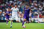 Giovanni Simeone (r) of ACF Fiorentina fights for the ball with Nacho Fernandez of Real Madrid during the Santiago Bernabeu Trophy 2017 match between Real Madrid and ACF Fiorentina at the Santiago Bernabeu Stadium on 23 August 2017 in Madrid, Spain. Photo by Diego Gonzalez / Power Sport Images