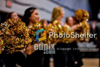 16 March 2019: The UVM Dance Team cheer on the Catamounts during play against the UMBC Retrievers, in the America East Championship Game at Patrick Gymnasium in Burlington, Vermont. The Catamounts defeated the Retrievers 66-49 to take the AE Championship for the 2018/2019 NCAA Men's Basketball season. Mandatory Credit: Ed Wolfstein Photo *** RAW (NEF) Image File Available ***