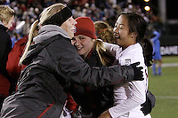 COLLEGE STATION, TX - DECEMBER 4:  Courtney Verloo, Morgan Redman, and Rachel Quon of the Stanford Cardinal during Stanford's 2-1 (OT) win over the UCLA Bruins in the NCAA Women's Soccer Championships semi-finals on December 4, 2009 in College Station, Texas.