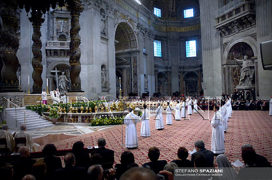 Newly ordained deacons prostate in front of Pope Benedict XVI in St. Peter's basilica in the Vatican on april 29, 2007