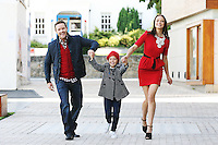 31/8/2010. Dundrum Town Center preview Autumn Winter 2010 Collection. Model Irma is pictured wearing a Dress from Coast EUR120, Necklase Lk Bennett EUR120, Shoes from Zara ¶ª, Joe wears Jacket House of Frasier, EUR140, Cardigan EUR95, Jeans Bertoni EUR100 and Nikoleta wears Coat from Monsoon, EUR99, Top Monsoon, EUR18.50 hat 15,jeans EUR26 at the Dundrum Town Centre . Picture James Horan/Collins