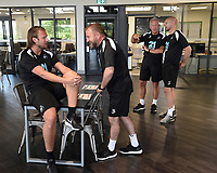 (L-R) Bjorn Hamberg, assistant coach, Billy Reid, assistant manager, Alan Curtis, assistant coach and Adrian Tucker during the Swansea City Players Return to Pre-Season Training at The Fairwood Training Ground, Wales, UK. Monday 02 July 2018