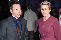 """Sam Rockwell and Frances McDormand<br /> arriving for the London Film Festival 2017 closing gala of """"Three Billboards"""" at Odeon Leicester Square, London<br /> <br /> <br /> ©Ash Knotek  D3337  15/10/2017"""
