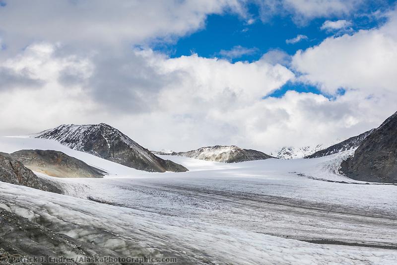 Landscape of the Gulkana Glacier in the Alaska Range mountains, Interior, Alaska.