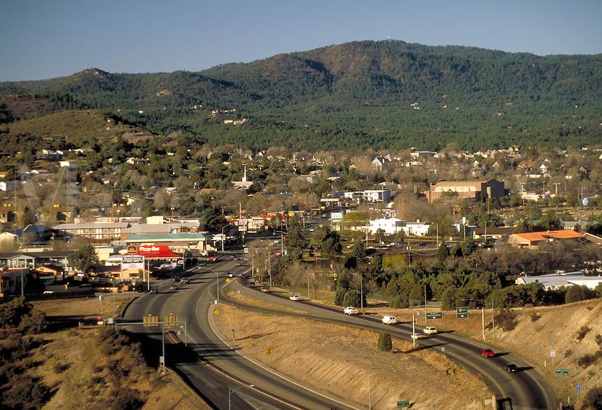 View of Prescott, AZ and US 89 SR 69 interchange. Prescott Arizona USA.
