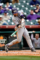 TCU Horned Frog catcher Bryan Holaday against the Texas Tech Red Raiders on Friday March 5th, 2100 at the Astros College Classic in Houston's Minute Maid Park.  (Photo by Andrew Woolley / Four Seam Images)