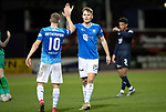 Dundee v St Johnstone…29.12.18…   Dens Park    SPFL<br />Jason Kerr and David Wotherspoon celebrate at full time<br />Picture by Graeme Hart. <br />Copyright Perthshire Picture Agency<br />Tel: 01738 623350  Mobile: 07990 594431