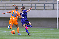 Lyndsey Van Belle (14) of AA Gent and Tessa Wullaert (27) of Anderlecht pictured during a female soccer game between RSC Anderlecht Dames and AA Gent Ladies on the fifth matchday of play off 1 of the 2020 - 2021 season of Belgian Womens Super League , saturday 8 th of May 2021  in Brussels , Belgium . PHOTO SPORTPIX.BE | SPP | STIJN AUDOOREN