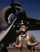 "Lieutenant ""Mike"" Hunter, Army pilot assigned to Douglas Aircraft Company, Long Beach, Calif. 1942"