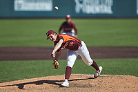 Virginia Tech Hokies relief pitcher Matthew Siverling (16) in action against the Boston College Eagles at English Field on April 3, 2021 in Blacksburg, Virginia. (Brian Westerholt/Four Seam Images)