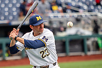 Michigan Wolverines assistant coach Nick Schnabel (23) before Game 11 of the NCAA College World Series against the Texas Tech Red Raiders on June 21, 2019 at TD Ameritrade Park in Omaha, Nebraska. Michigan defeated Texas Tech 15-3 and is headed to the CWS Finals. (Andrew Woolley/Four Seam Images)
