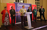 Pictured: Transgender Liberal Democrat candidate for Swansea East, Charley Hasted (3rd L) gives a thank you speech after the results were announced. Friday 09 June 2017<br />