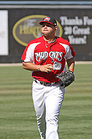 Yonder Alonzo #19 of the Carolina Mudcats running in from the outfield during a game against the Montgomery Biscuits on April 18, 2010  in Zebulon, NC.