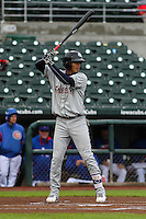 Colorado Springs Sky Sox shortstop Orlando Arcia (2) at bat during a Pacific Coast League game against the Iowa Cubs on May 1st, 2016 at Principal Park in Des Moines, Iowa.  Colorado Springs defeated Iowa 4-3. (Brad Krause/Four Seam Images)