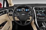 Steering wheel view of a 2013 Ford Fusion SE
