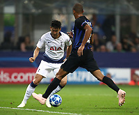 Football Soccer: UEFA Champions League FC Internazionale Milano vs Tottenham Hotspur FC, Giuseppe Meazza stadium, September 15, 2018.<br /> Tottenham's Heung-Min Son (l) in action with Inter's Miranda (r) during the Uefa Champions League football match between Internazionale Milano and Tottenham Hotspur at Giuseppe Meazza (San Siro) stadium, September 18, 2018.<br /> UPDATE IMAGES PRESS/Isabella Bonotto