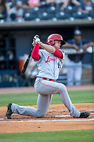 Louisville Bats catcher Rob Brantly (14) follows through on his swing against the Toledo Mud Hens during the International League baseball game on May 17, 2017 at Fifth Third Field in Toledo, Ohio. Toledo defeated Louisville 16-2. (Andrew Woolley/Four Seam Images)