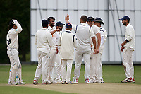 E Kalley of Wanstead celebrates with his team mates after taking the wicket of A West during Wanstead and Snaresbrook CC (fielding) vs Brentwood CC, Hamro Foundation Essex League Cricket at Overton Drive on 19th June 2021