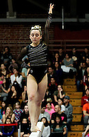 STANFORD, CA--March 1, 2013--Shone Morgan with Stanford women's Gymnastics team competes during the competition against Cal and Oregon State University on the Stanford University Campus. Stanford won the competition .  Shone Morgan