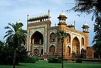 People outside the entrance gate of the Taj Mahal, Agra, India.